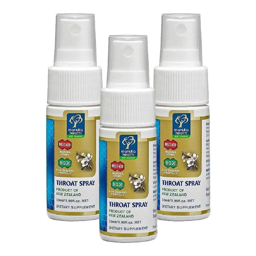 Manuka Health MGO 400+ Manuka Honey & Bio30 Nz Propolis Throat Spray 30ml 100% Pure New Zealand Honey & Bee Propolis (Pack of 3) by Manuka Health