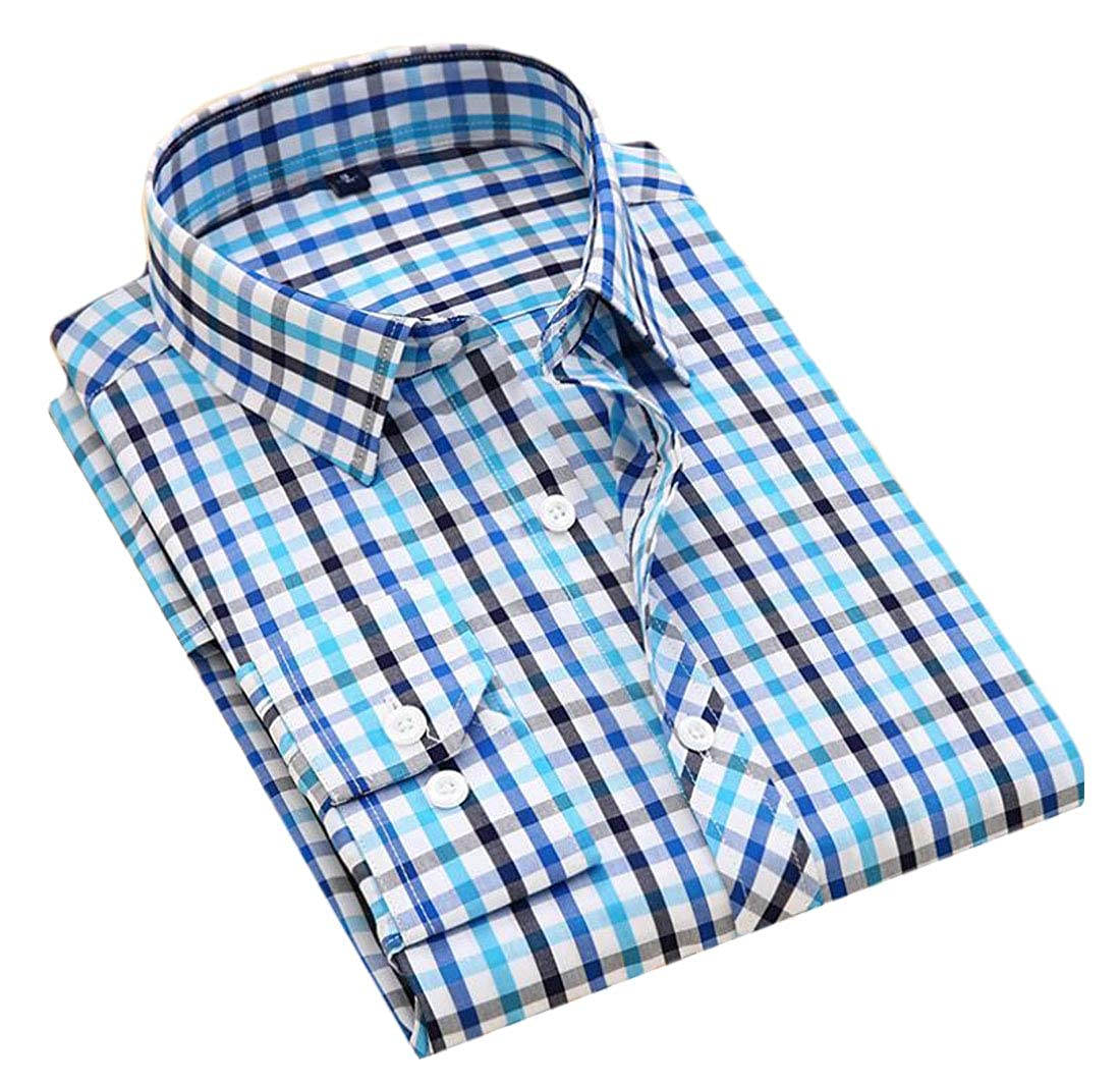 Cromoncent Mens Classic Fit Checkerboard Button up Cotton Long Sleeve No Iron Shirts