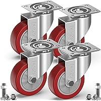 GBL® 4 Zwenkwielen 100mm + Schroeven | Zwaarlastwielen 600KG - Zwenkwielen Voor Meubels | Zwenkwieltjes voor een Trolley…