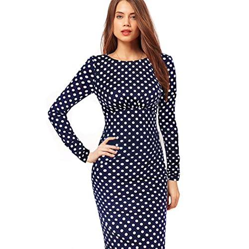 June's Young Women Dresses Fall Dress Vintage Polka Dot Knee-Length Pencil Dress