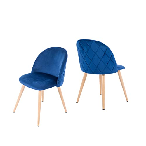 NOBPEINT Dining Leisure Chair Velvet Cushion Seat, Set of 2 Blue