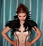 ZAKIA Gothic Natural Feather Shrug Cape Shawl Stole