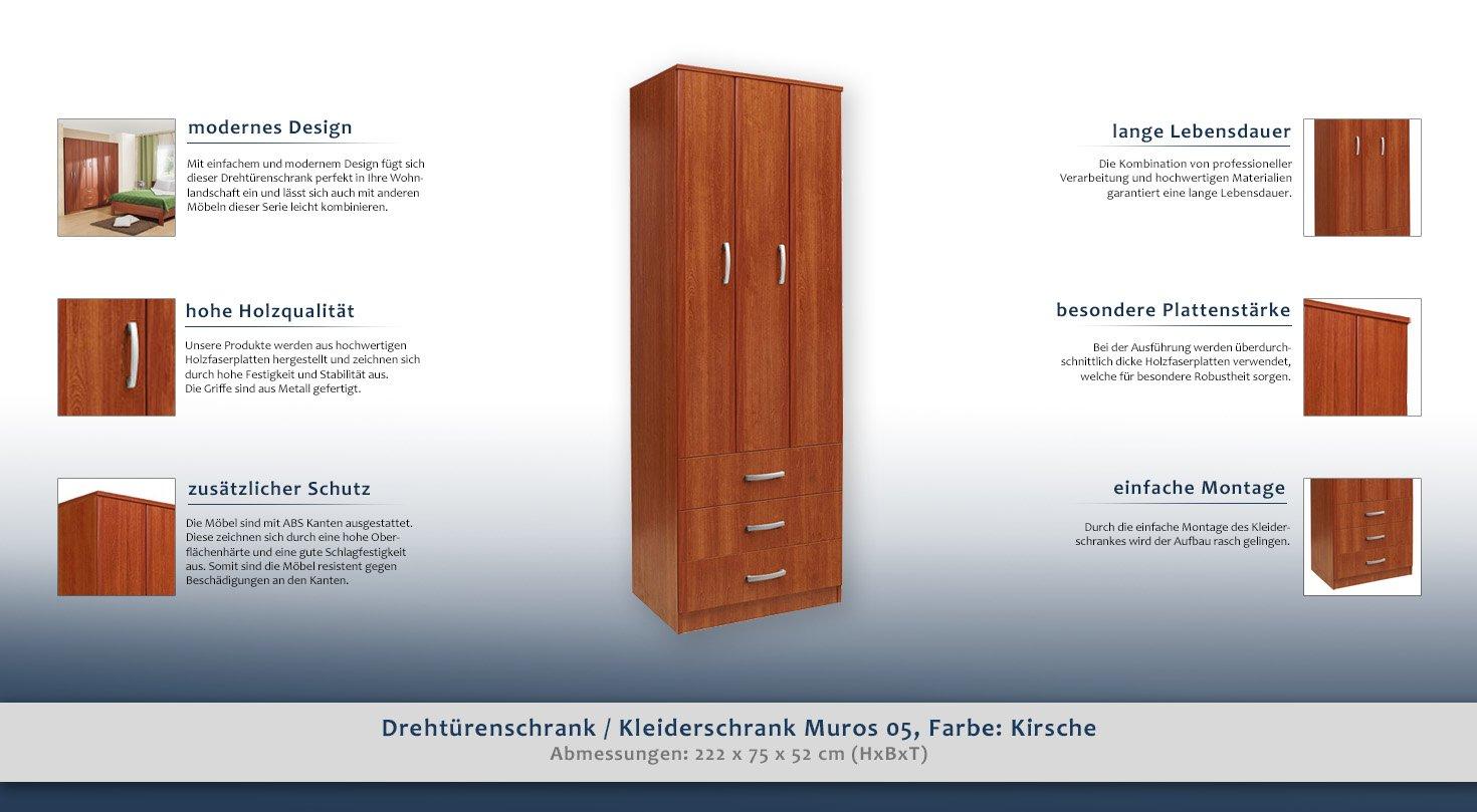 Dreht/ürenschrank//Kleiderschrank Muros 05 222 x 75 x 52 cm Farbe: Kirsche H x B x T