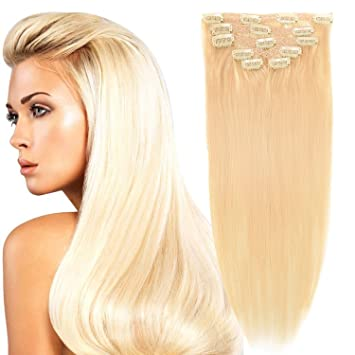 Amazon Com 18 Clip In Remy Human Hair Extensions Double Weft Thick