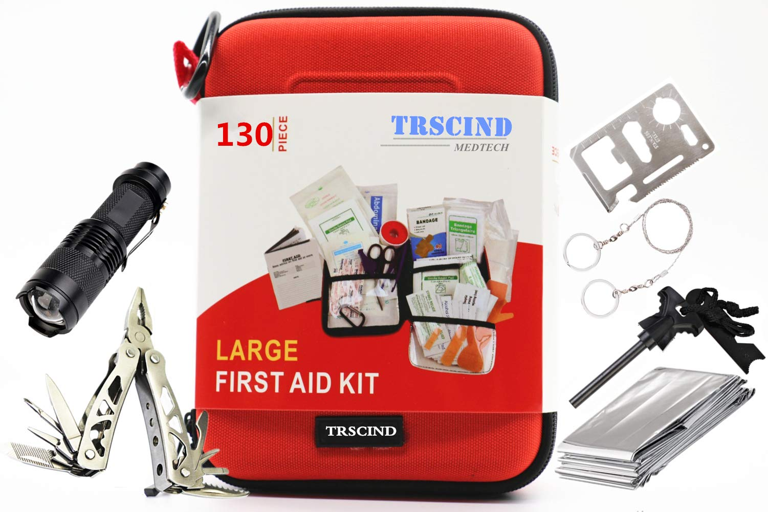 First Aid Kit Compact Survival Kit(2018 Upgraded) Emergency Kit Earthquake Survival kit Trauma Bag for Home Kids Camping Hiking Car Boat Business with Emergency Survival Gear by TRSCIND