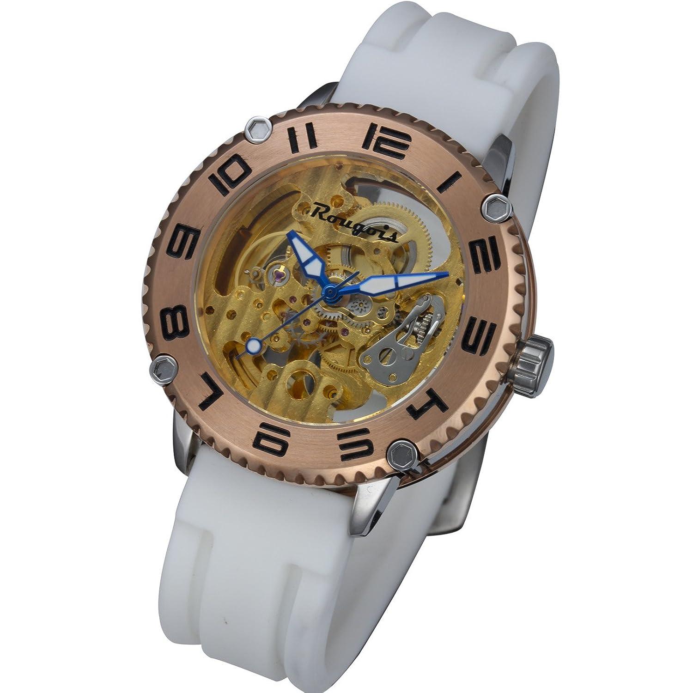 Rougoisスケルトン自動機械腕時計 – ホワイト B0035G3QOS