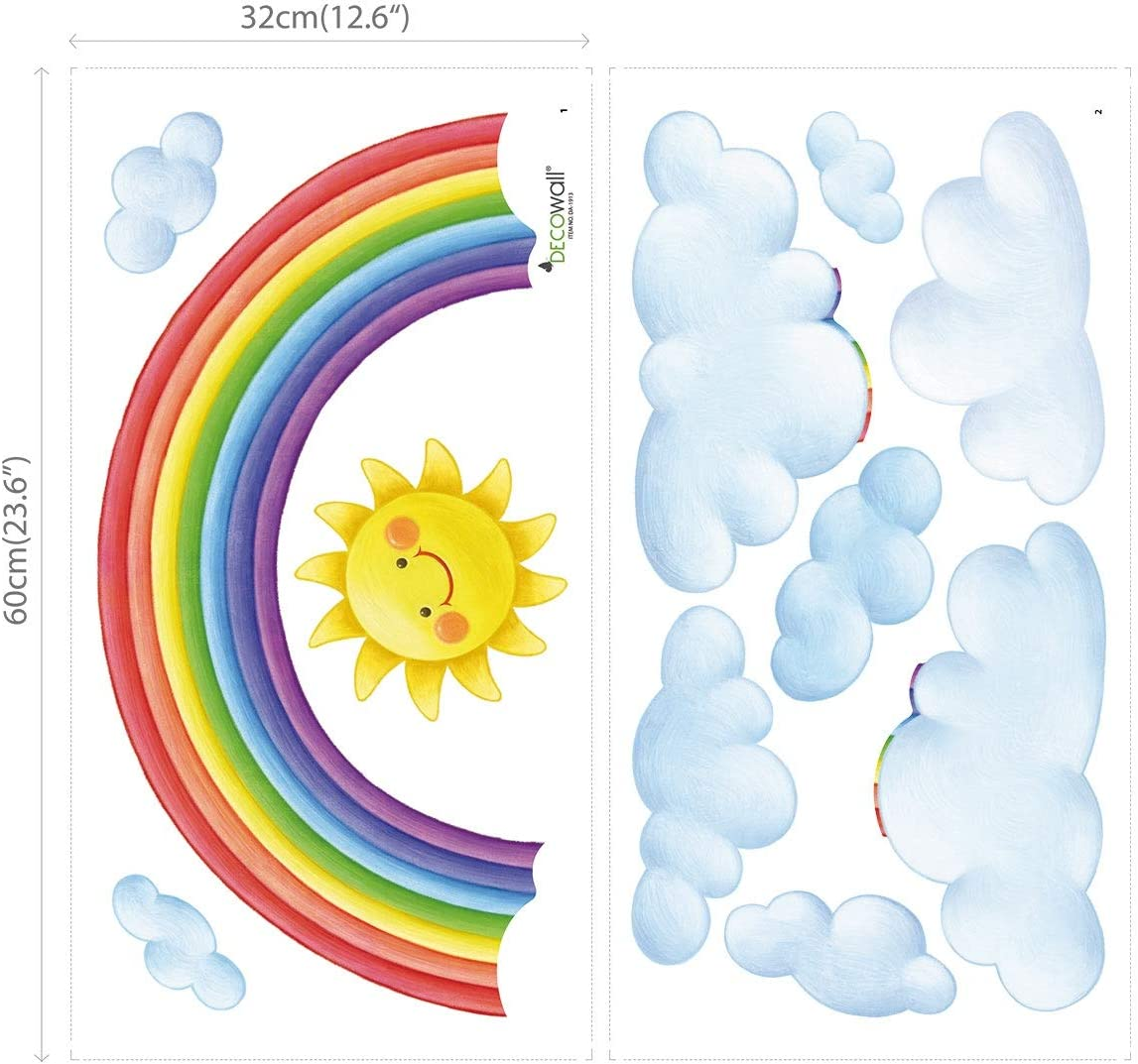 DecowallRainbow and Hot Air Balloons Nursery Wall Stickers DA-1913P1406B