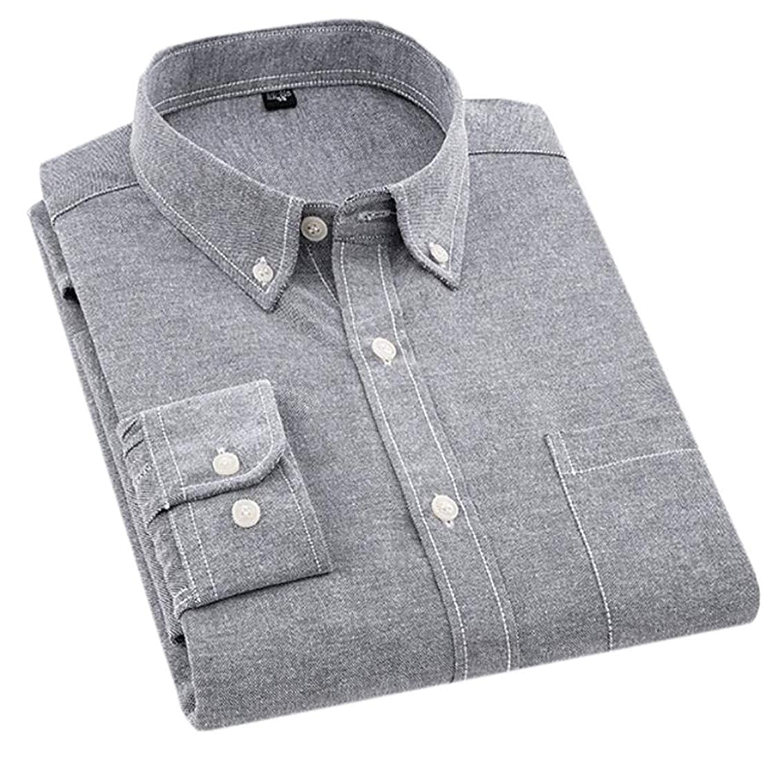 X-Future Mens Slim Fit Flap Pockets Formal Casual Oxford Plain Cotton Lapel Shirt