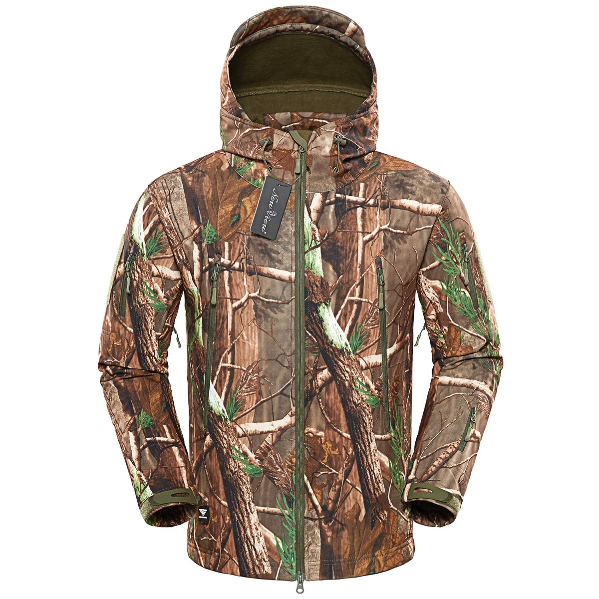 NEW VIEW Hunting Jackets Waterproof Hunting Camouflage Hoodie for Man Camo Jackets and Tactical Camouflage Pants (Jacket-7, US XL=Tag XXL) by NEW VIEW