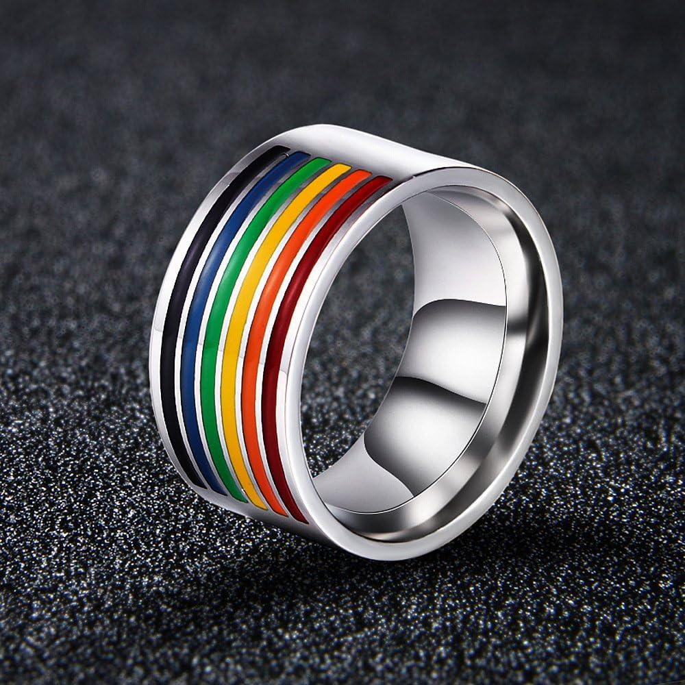 12 CHOA Titanium Stainless Steel Rainbow Ring Enamel Gay Lesbian Wedding Engagement Promise Band Ring