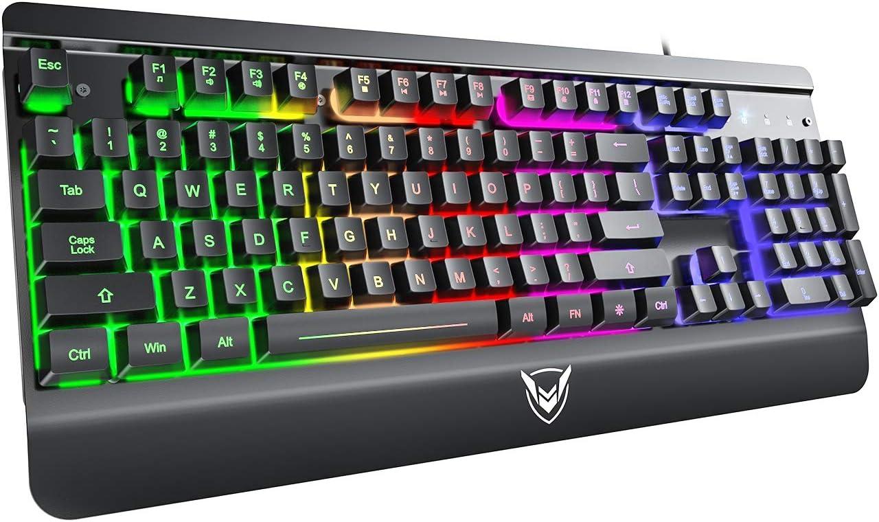 Black RGB Gaming Keyboard USB Wired Keyboard,Quiet All-Metal Panel Spill-Resistant Keyboard with Ergonomic Wrist Rest,Ultra-Slim Rainbow LED Backlit Keyboard for Desktop,Computer,Windows,PC
