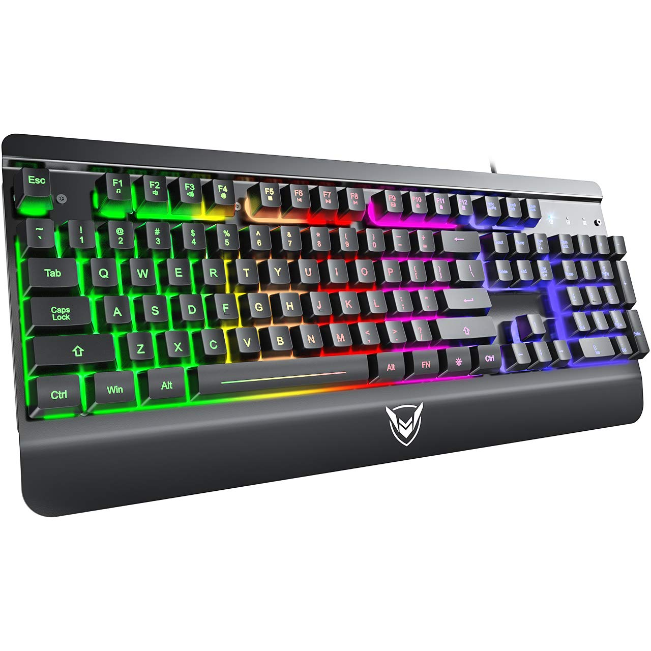 PICTEK Metal Gaming Keyboard, LED Wired Rainbow Keyboard, USB Backlit Membrane Keyboard with Wrist Rest, 19 Anti-ghosting Keys, 12 Multimedia Shortcuts, Spill-Resistant for Windows PC Gamer-Black