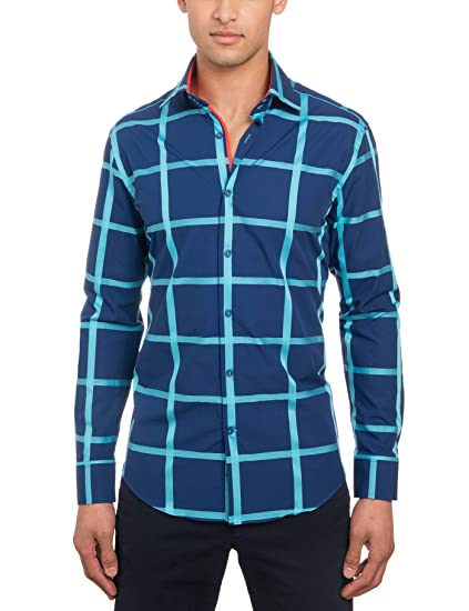886a5a17 HAWES & CURTIS Mens Long Sleeve Curtis Navy & Turquoise Large Check Slim  Fit Shirt - Single Cuff, Navy/Turquoise, Small: Amazon.co.uk: Clothing