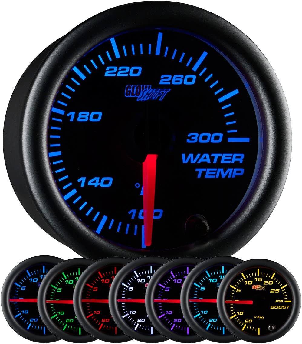for Car /& Truck Clear Lens Includes Electronic Sensor 2-1//16 52mm Black Dial GlowShift Black 7 Color 300 F Water Coolant Temperature Gauge Kit