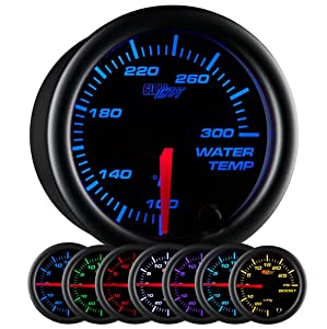 """GlowShift Black 7 Color 300 F Water Coolant Temperature Gauge Kit - Includes Electronic Sensor - Black Dial - Clear Lens - for Car & Truck - 2-1/16"""" 52mm"""
