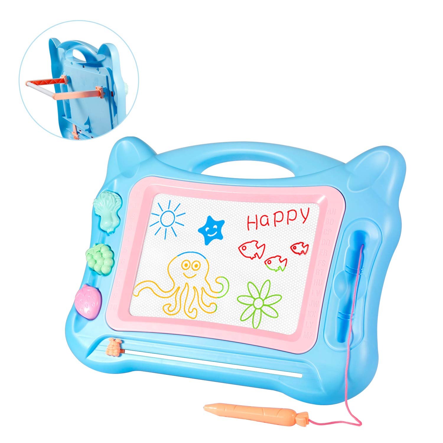 Geekper Magnetic Drawing Board Toy Extra Large 17.1 X 12.9 Magna Doodles with Foldable Stand Fruit 3 Stamps Blue Education Doodle for Kids Sketch Erasable Pad Writing Tablet for Toddlers