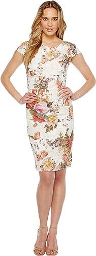Adrianna Papell Womens Draped Metallic Jacquard Sheath Dress