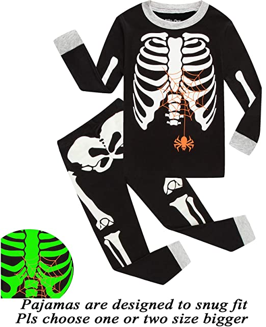 little pajamas boys skeleton halloween pjs 100 cotton toddler clothes kids sleepwear 12m