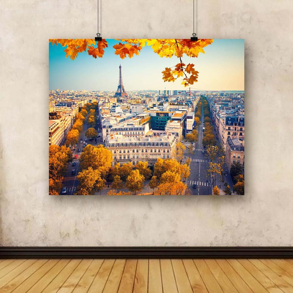Pitaara Box Eiffel Tower 40 At Sunset, Paris, France Unframed Canvas Painting 40 Tower x 32inch 35cd18