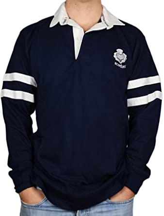 I Luv LTD Gents Scottish Rugby Shirt 2 Stripe and Thistle Long ...