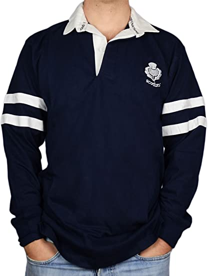 74e73d15f Image Unavailable. Image not available for. Color: iLuv Gents Scottish  Rugby Shirt 2 Stripe and Thistle Long Sleeve ...