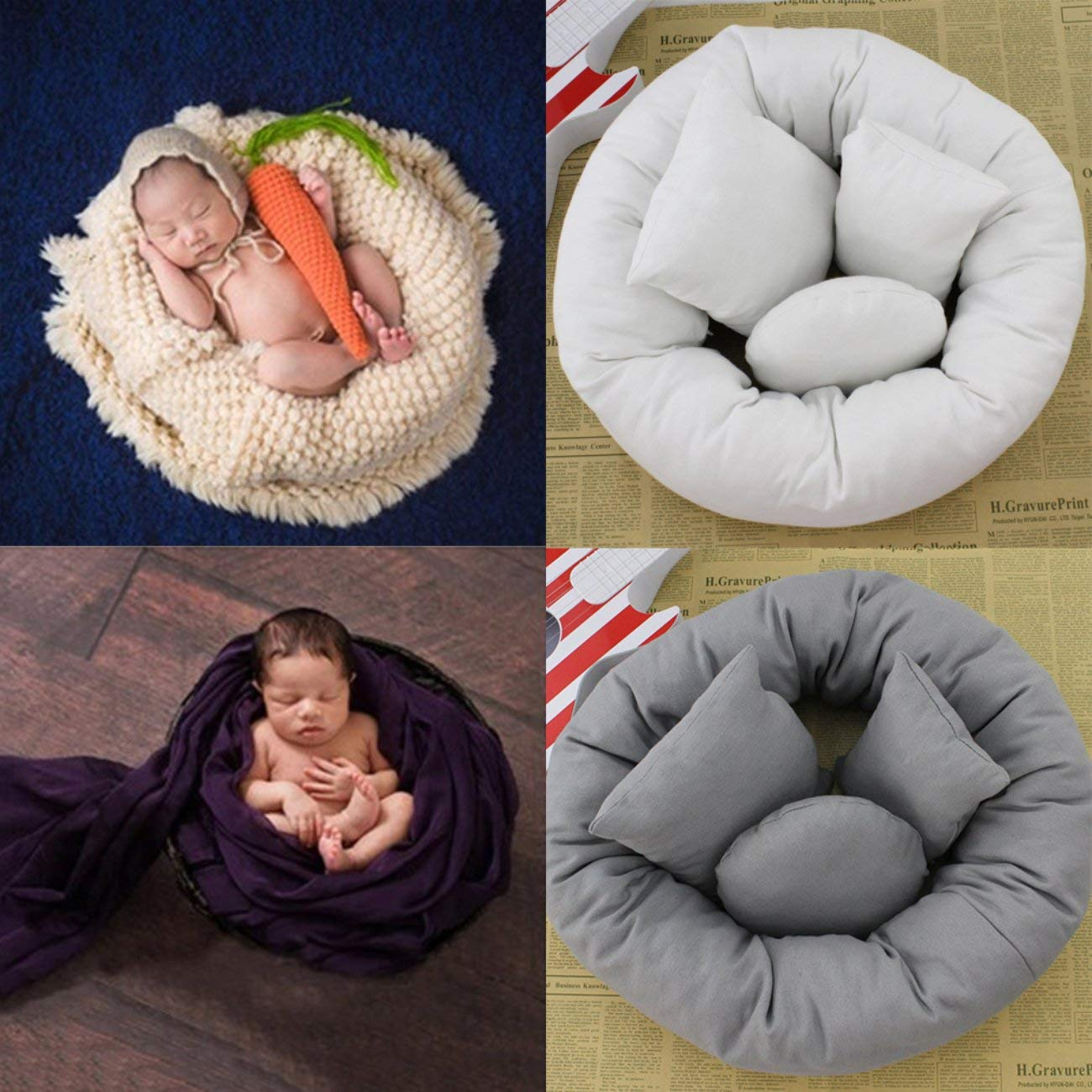 4 Teile//satz Baby Neugeborenen Kissen Korb F/üller Weizen Donut Fotografie Requisiten