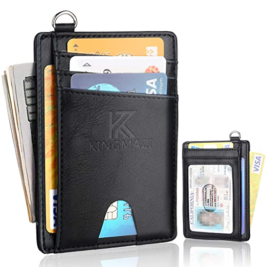 4e9169e66523 Slim Minimalist Front Pocket RFID Blocking Wallets, Credit Card Holder with  Disassembly D-Shackle for Men Women