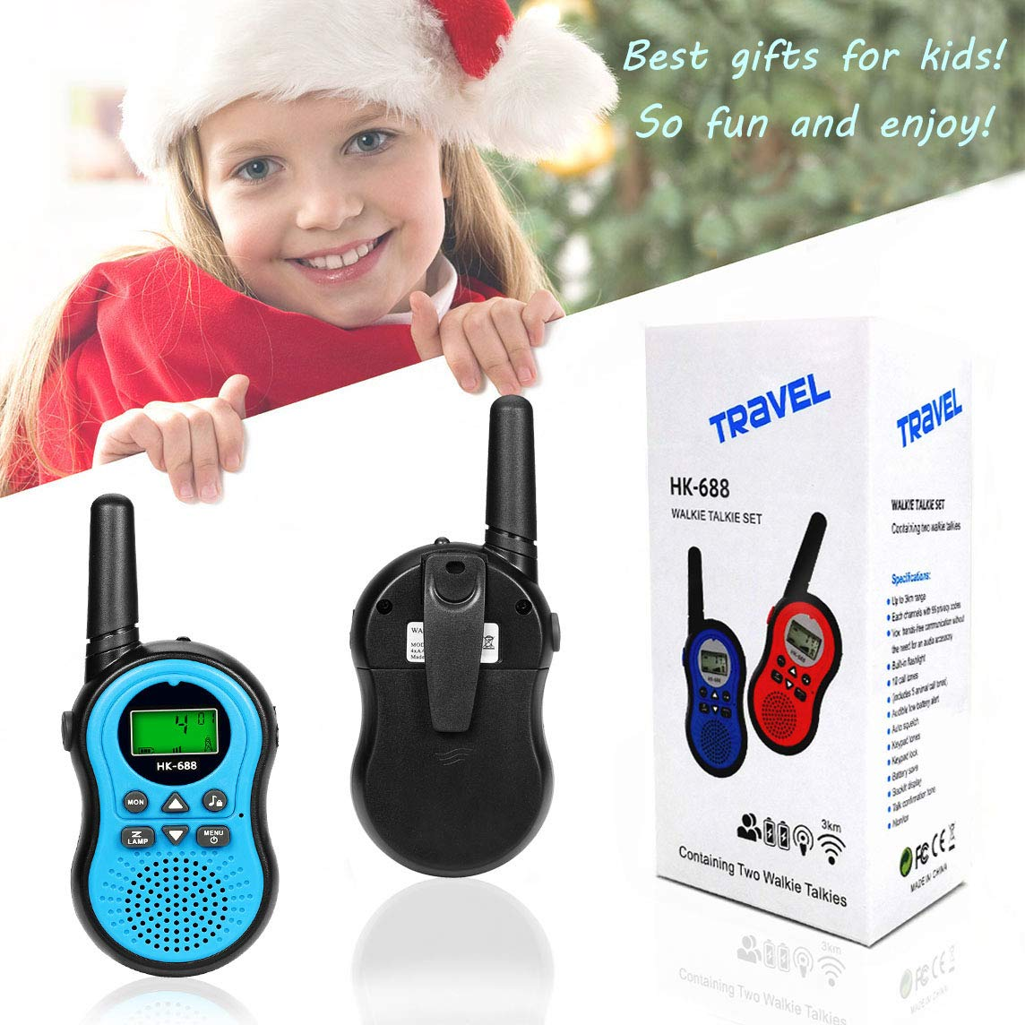 Kids Toys for 3-15 Year Old Boy,Fun Gifts for Teen Girls Boys,XIYITOY Walkie Talkies for Children Teen Boy Gifts Birthday Presents,Boys Gift Age 5,HK-688 1Pair(Blue) by XIYITOY (Image #6)