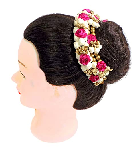 98980d4c6d96e FULLY New Style Juda Bun Decoration Hair Gajra for Bridal Accessories for  Girls/Juda Hair Accessories/Best Karva Chauth Day Special Gift (Red Rose ...