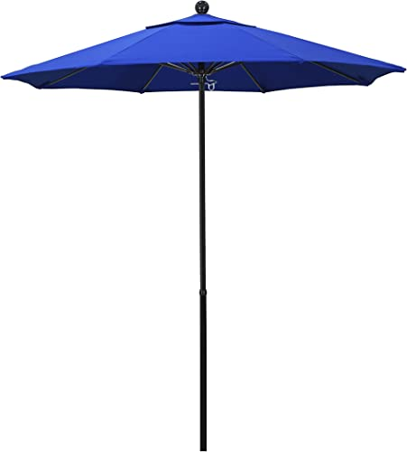 California Umbrella 7.5 Round 100 Fiberglass Frame Umbrella, Push Lift, Black Pole, Sunbrella Pacific Blue