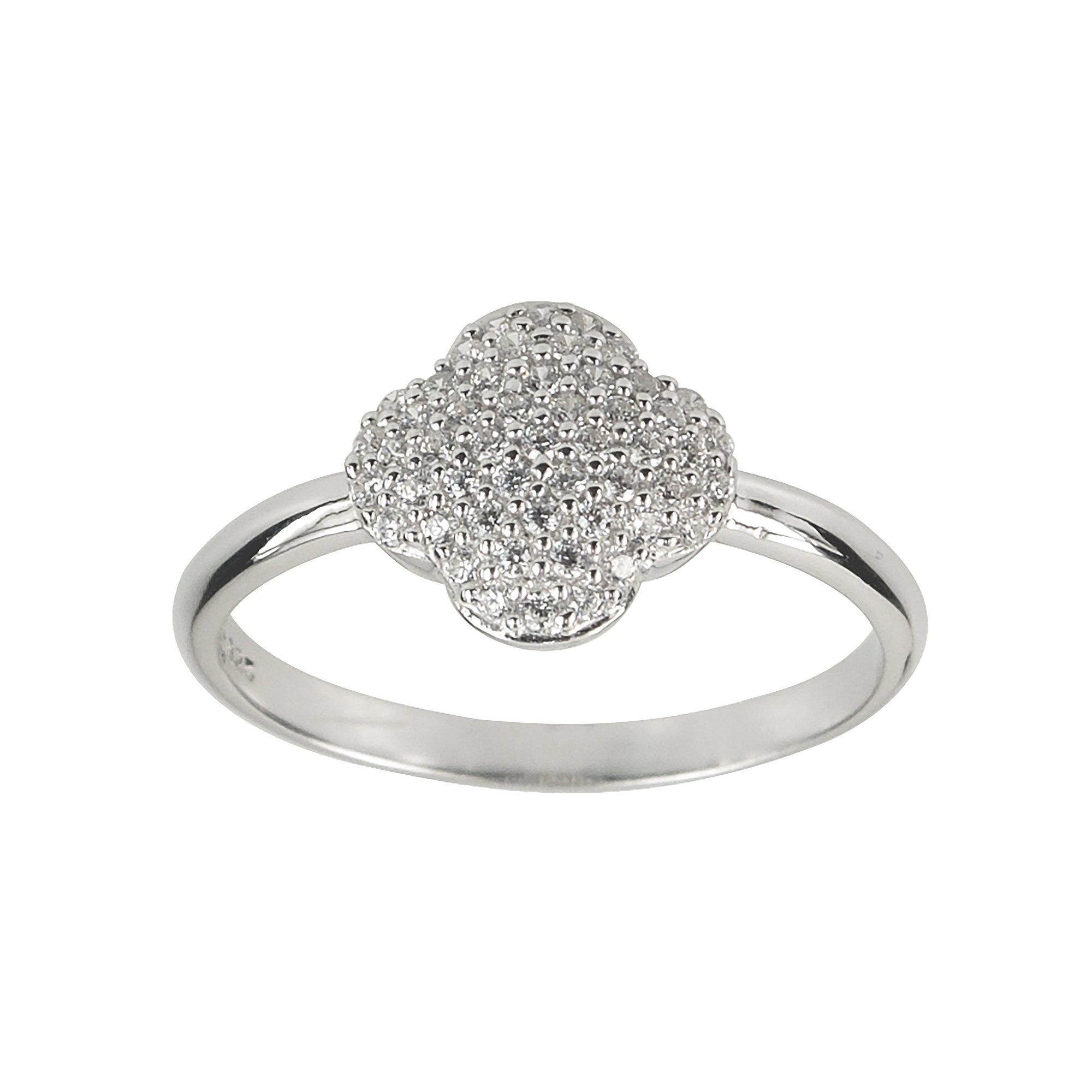 Aura by TJM Sterling Silver Micropave 0.20 cts White CZ Scallop Ring