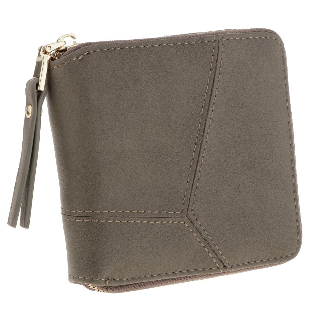 Homyl Small Wallet for Women PU Leather Credit Card Holder Zipper Purse Organizer - Grey, as described