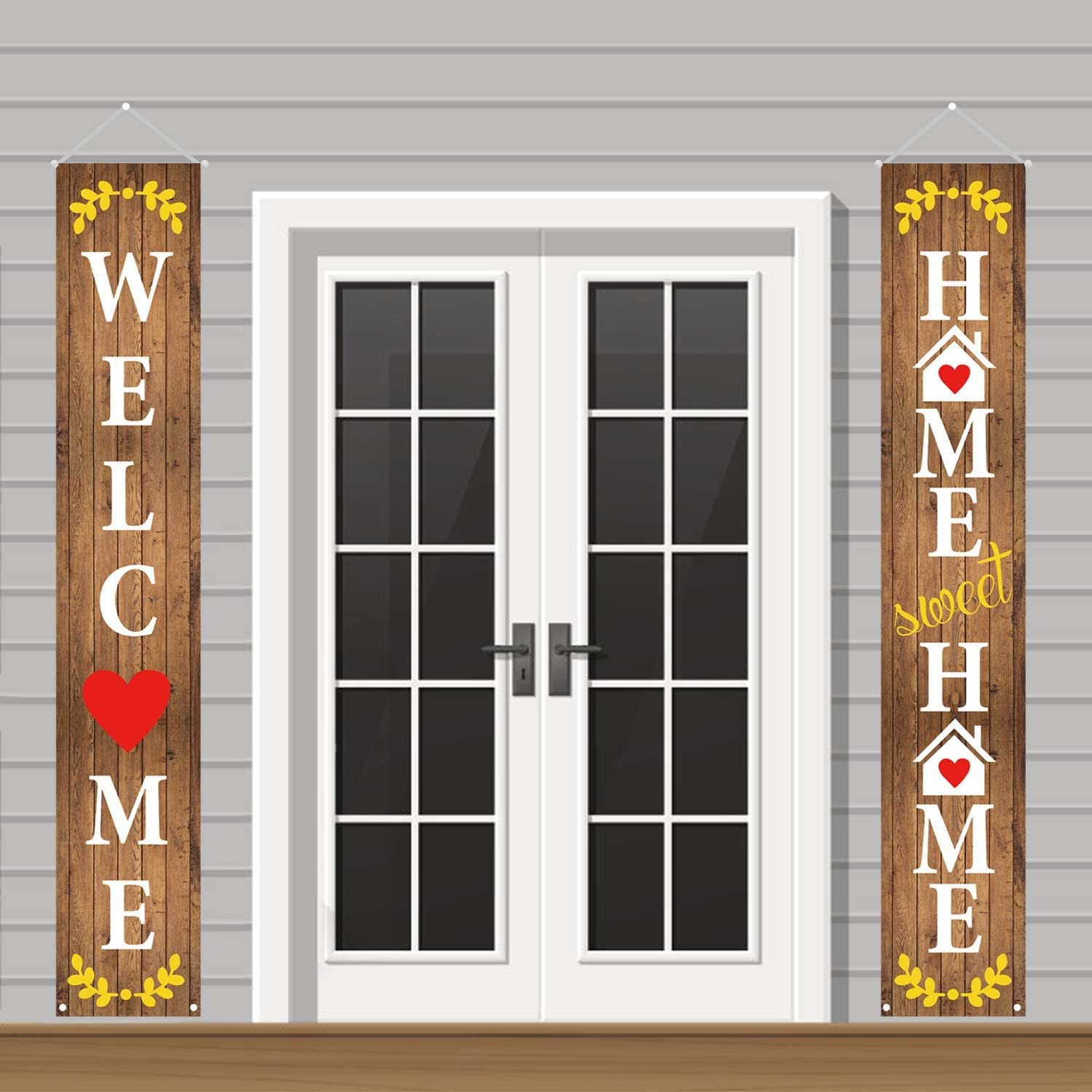 Mosoan Welcome Home Sweet Home Decorations Outdoor - Welcome Home Decorations for Front Door or Indoor Home Decor | Porch Decorations | Welcome Home Vertical Signs