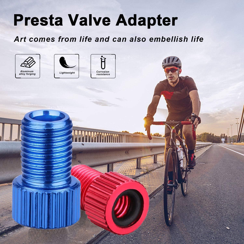 Convert Presta to Schrader Bike Inflate Converter Presta Valve Adaptor Aluminum Inflate Tire Using Standard Pump or Air Compressor Road Bike Mountain Bike Fit MTB 5-Pack