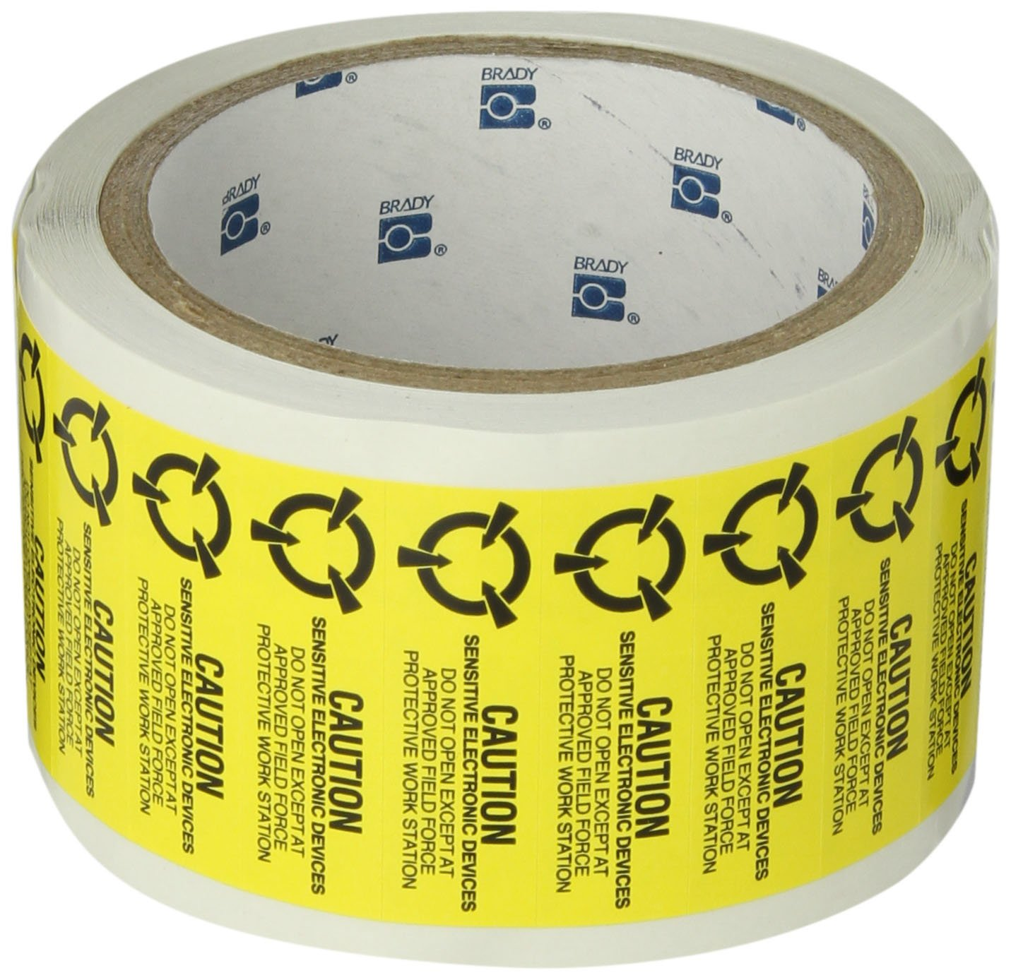 1000 per Roll Black on Yellow Static Awareness Label Brady SL-8 2 Width x 0.625 Height B-122 Removable Paper