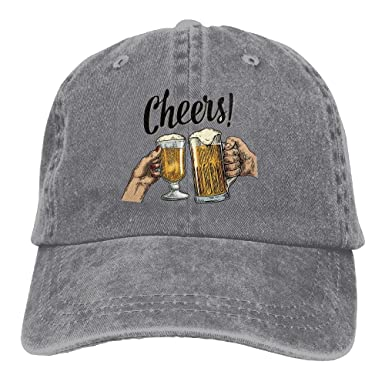 5e574cbbcf1a6 Alin-Z Beer Cheers Adjustable Adult Cowboy Hat Baseball Cap for Men and  Women