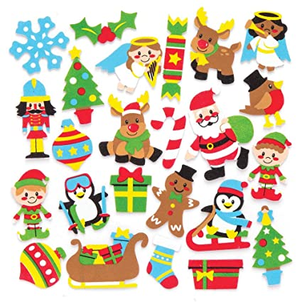 Baker Ross Christmas Foam Stickers Pack Of 120 For Kids Christmas Crafts And Decorations