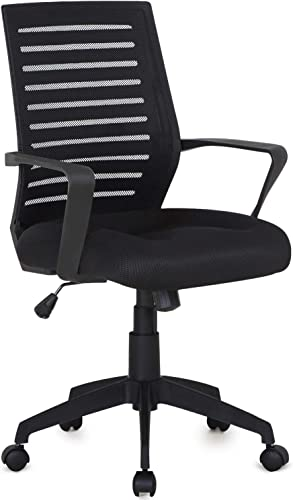 VECELO Premium Mesh Chair With 3D Surround Padded Seat Cushion For Task Desk Home Office Work, Black