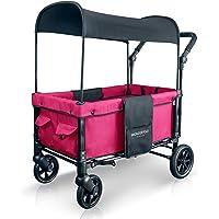 WonderFold Multi-Function 2 Passenger Push Folding Stroller Wagon with 5-Point Harness (Fuschia Pink)