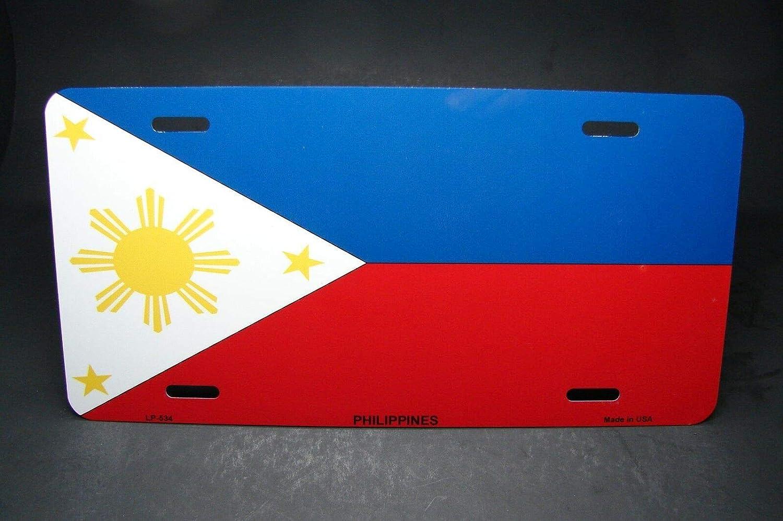 15,2 x 30,5 cm MNUT Plaque dimmatriculation en m/étal avec Drapeau des Philippines pour Voiture