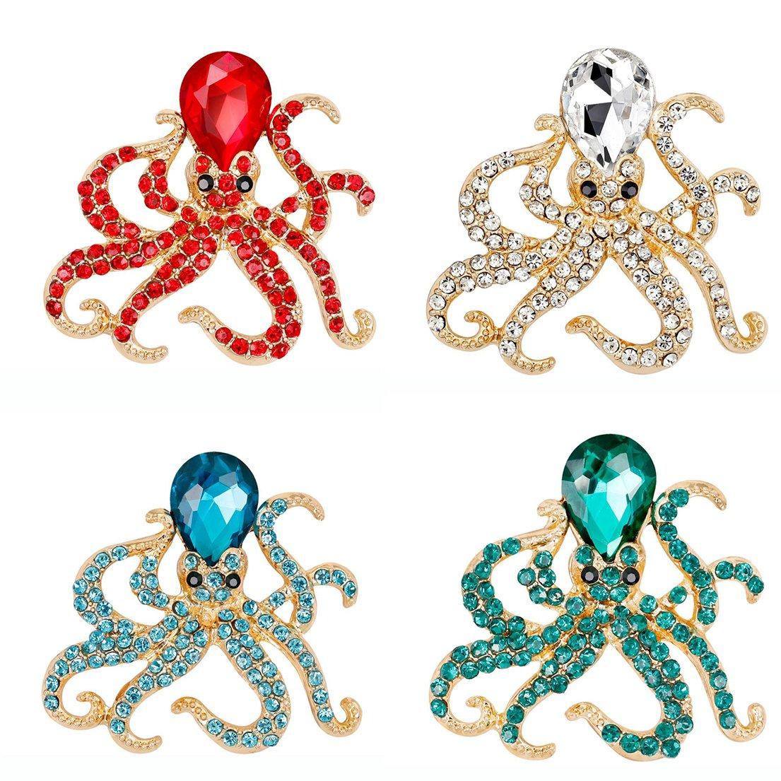 Alonea Octopus Brooch, Women Crystal Diamond Dragonfly Brooch Retro Copper Brooches Collar (4 Pack❤️)