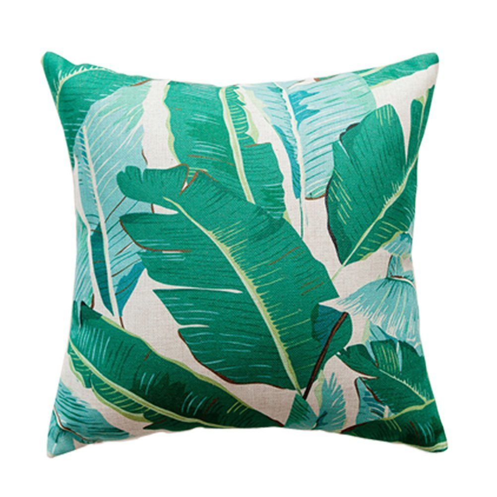 Gspirit 4 Pack Tropical Hojas Algod/ón Lino Throw Pillow Case Funda de Almohada para Coj/ín 45x45 cm