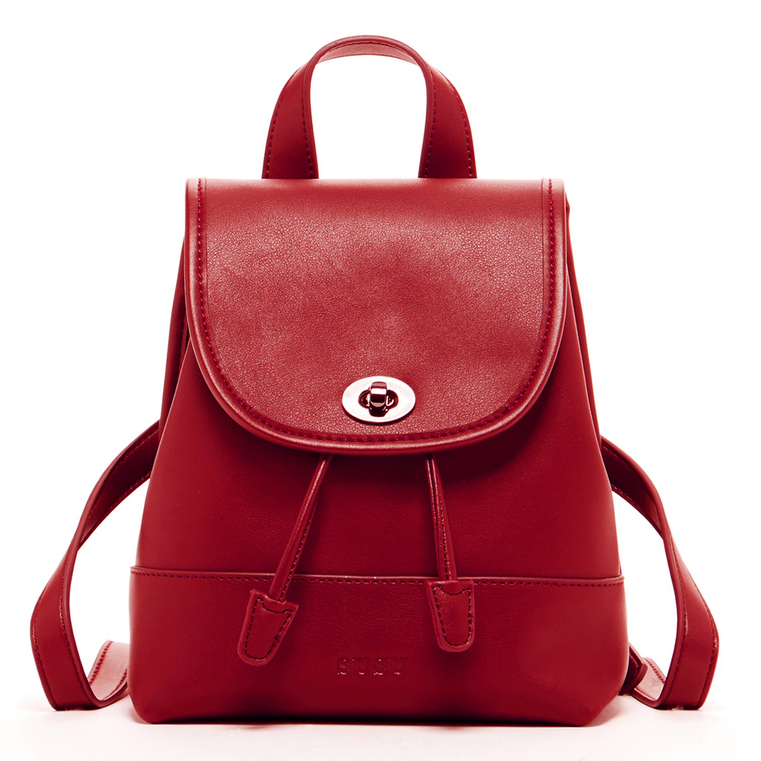 Leather Backpack Purse for Women - Small Red Womens Backpacks Trendy Back pack Luxury Fashion Designer Vintage Style Fancy Stylish It Bag Cute Pocket Book With Drawstring and Flap Buckle Closure