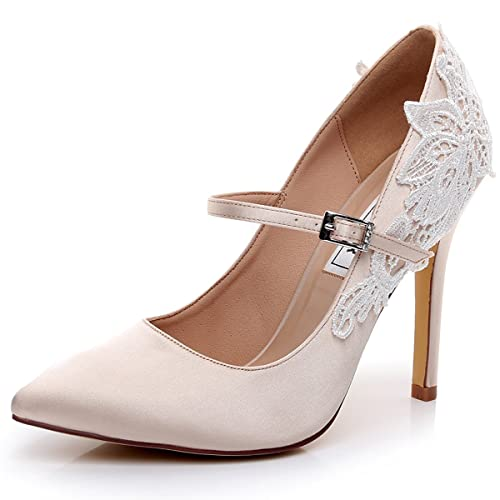 57c0a0bddc LUXVEER Lace Champagne Mary Jane Highe Heel Shoes 4.5 inch  -2064-Champagne-EU35