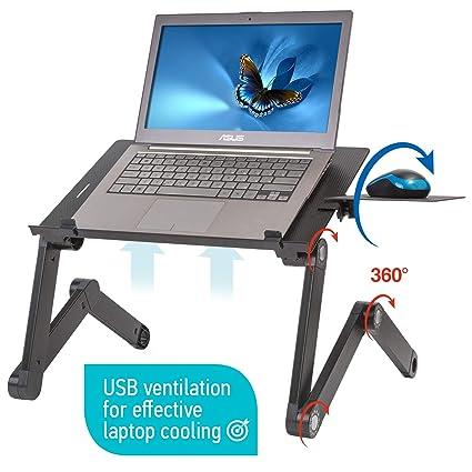 Tavolino Porta Pc Con Ventola Usb E Gambe Allungabili.Wonderworker Einstein Tavolino Porta Laptop In Alluminio Nero