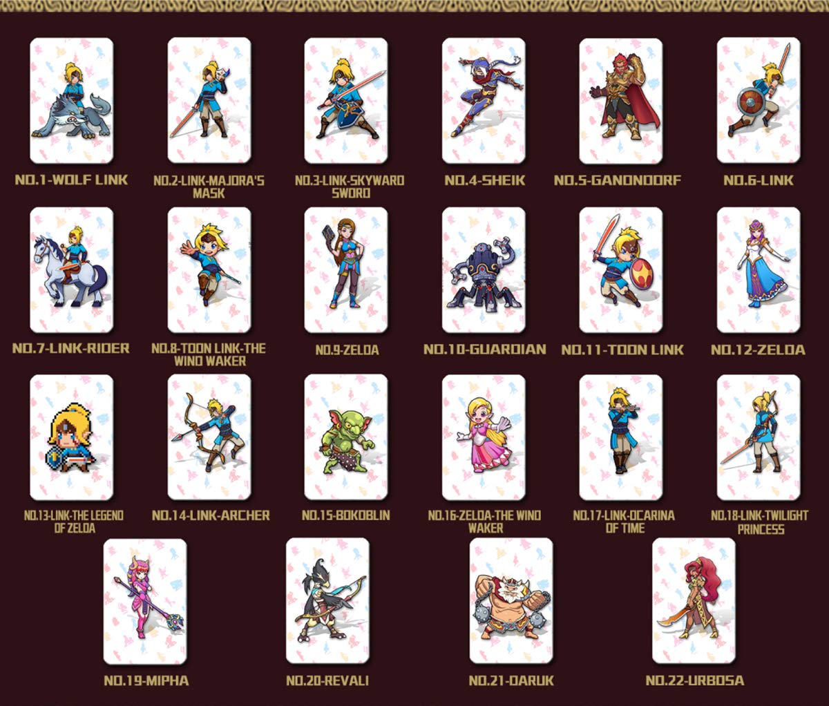 image regarding Printable Amiibo Cards titled NFC Tag Match Playing cards for the Legend of Zelda Breath of the Wild Exchange / Wii U- 22desktops Playing cards with Holder