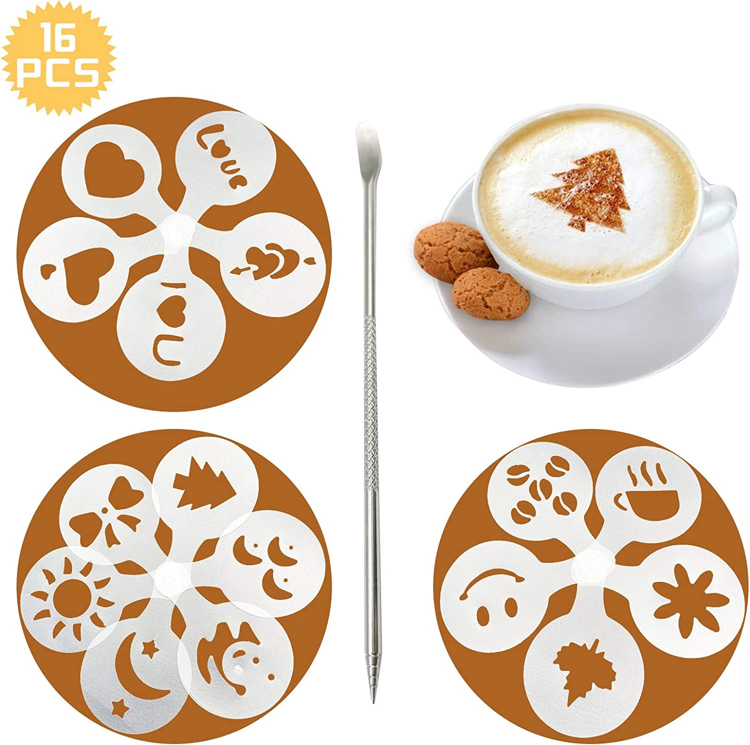 16 templates moulds for decorating cappuccino coffee