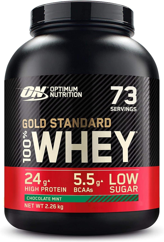 Optimum Nutrition Gold Standard 100% Whey Proteína en Polvo, Glutamina y Aminoácidos Naturales, BCAA, Chocolate y Menta, 73 Porciones, 2.26kg, ...
