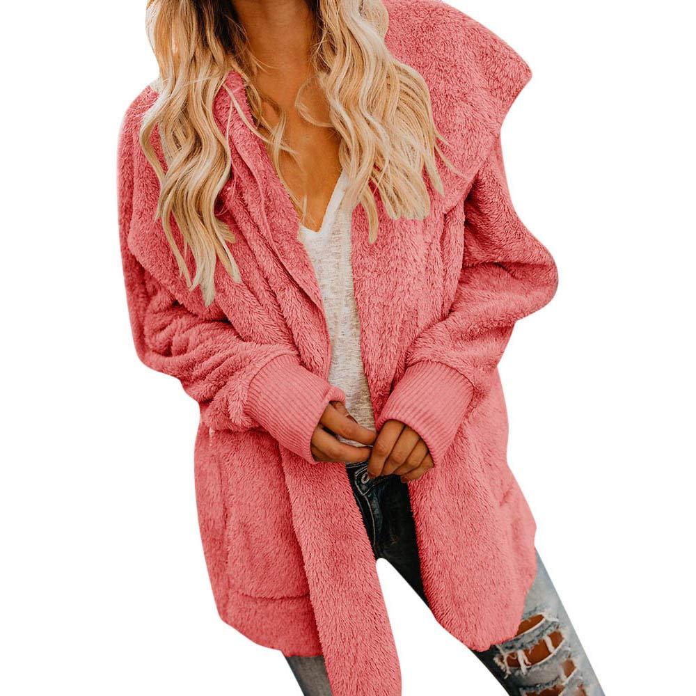 Caopixx Women Long Sleeve Zip Outwear Open Front Hooded Pockets Fuzzy Fleece Cardigan Coat Soft