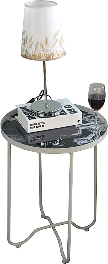 Amazon.com: Round Side Table,Metal End Table,Telephone Small ...